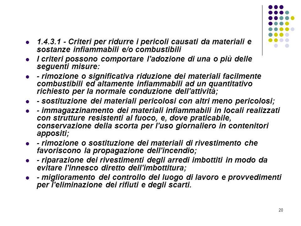 20 D.M. 10/03/1998 Allegato I Linee guida per la valutazione dei rischi incendio nei luoghi di lavoro 1.4.3.1 - Criteri per ridurre i pericoli causati