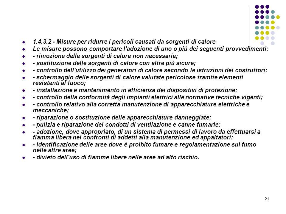 21 D.M. 10/03/1998 Allegato I Linee guida per la valutazione dei rischi incendio nei luoghi di lavoro 1.4.3.2 - Misure per ridurre i pericoli causati