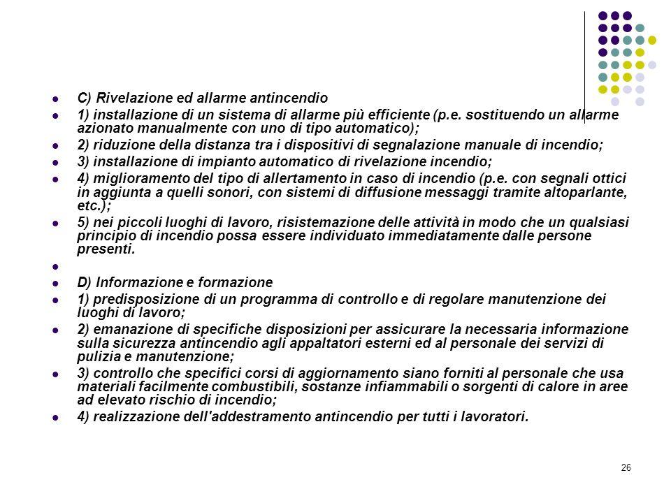 26 D.M. 10/03/1998 Allegato I Linee guida per la valutazione dei rischi incendio nei luoghi di lavoro C) Rivelazione ed allarme antincendio 1) install