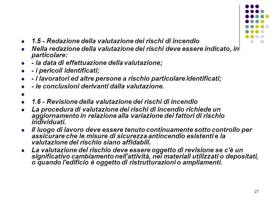 27 D.M. 10/03/1998 Allegato I Linee guida per la valutazione dei rischi incendio nei luoghi di lavoro 1.5 - Redazione della valutazione dei rischi di