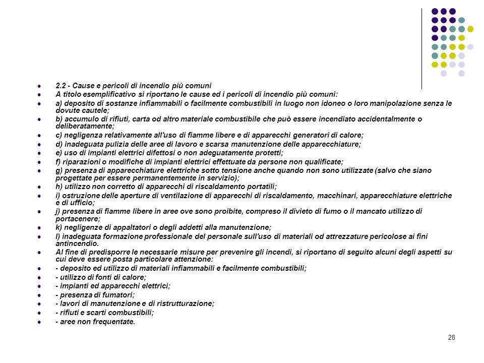 28 D.M. 10/03/1998 Allegato II Misure intese a ridurre la probabilità di insorgenza degli incendi 2.2 - Cause e pericoli di incendio più comuni A tito
