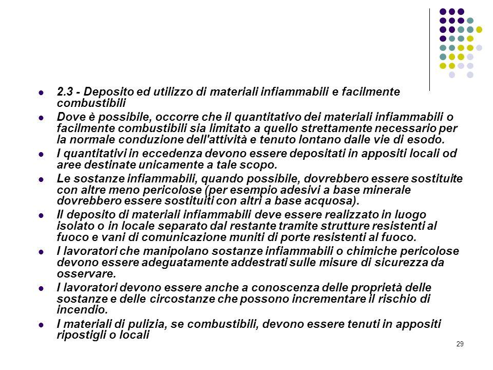 29 D.M. 10/03/1998 Allegato II Misure intese a ridurre la probabilità di insorgenza degli incendi 2.3 - Deposito ed utilizzo di materiali infiammabili