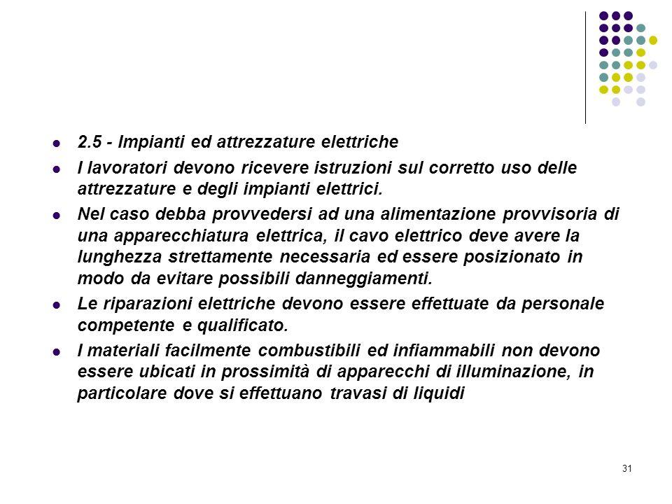31 D.M. 10/03/1998 Allegato II Misure intese a ridurre la probabilità di insorgenza degli incendi 2.5 - Impianti ed attrezzature elettriche I lavorato