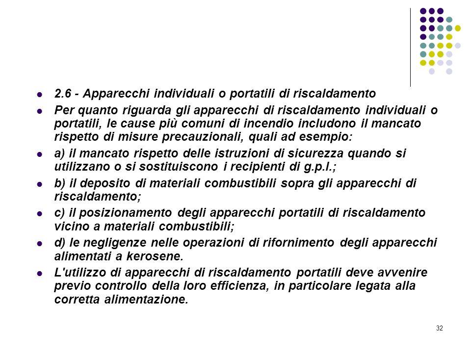 32 D.M. 10/03/1998 Allegato II Misure intese a ridurre la probabilità di insorgenza degli incendi 2.6 - Apparecchi individuali o portatili di riscalda