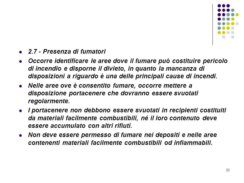 33 D.M. 10/03/1998 Allegato II Misure intese a ridurre la probabilità di insorgenza degli incendi 2.7 - Presenza di fumatori Occorre identificare le a