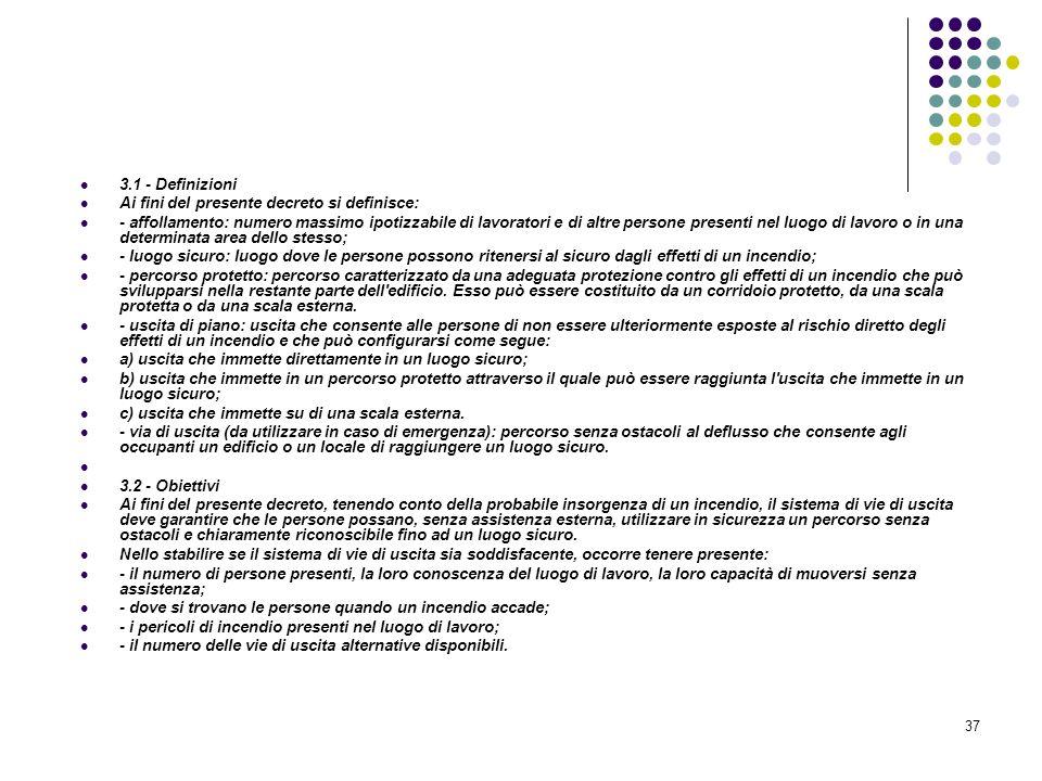 37 D.M. 10/03/1998 Allegato III Misure relative alle vie di uscita in caso di incendio 3.1 - Definizioni Ai fini del presente decreto si definisce: -