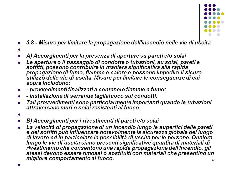46 D.M. 10/03/1998 Allegato III Misure relative alle vie di uscita in caso di incendio 3.8 - Misure per limitare la propagazione dell'incendio nelle v