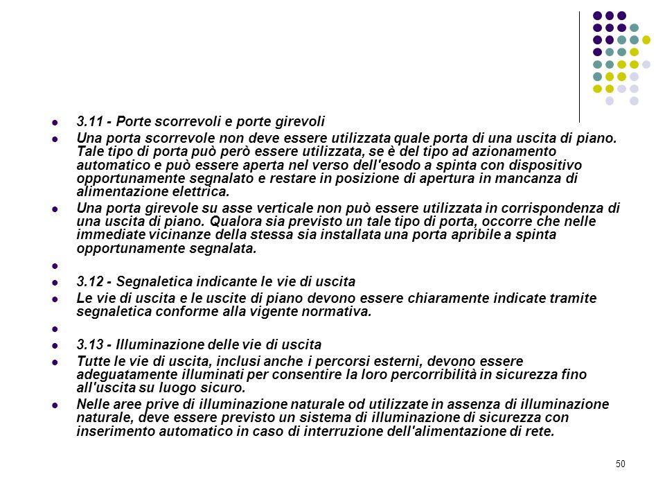 50 D.M. 10/03/1998 Allegato III Misure relative alle vie di uscita in caso di incendio 3.11 - Porte scorrevoli e porte girevoli Una porta scorrevole n