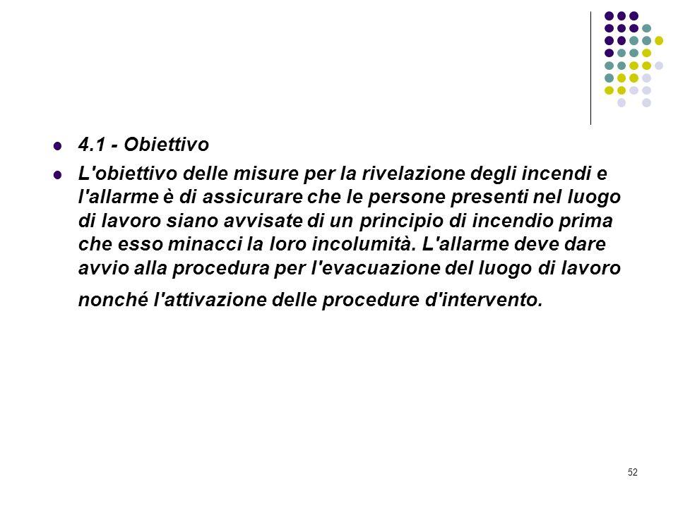 52 D.M. 10/03/1998 Allegato IV Misure per la rivelazione e lallarme in caso di incendio 4.1 - Obiettivo L'obiettivo delle misure per la rivelazione de