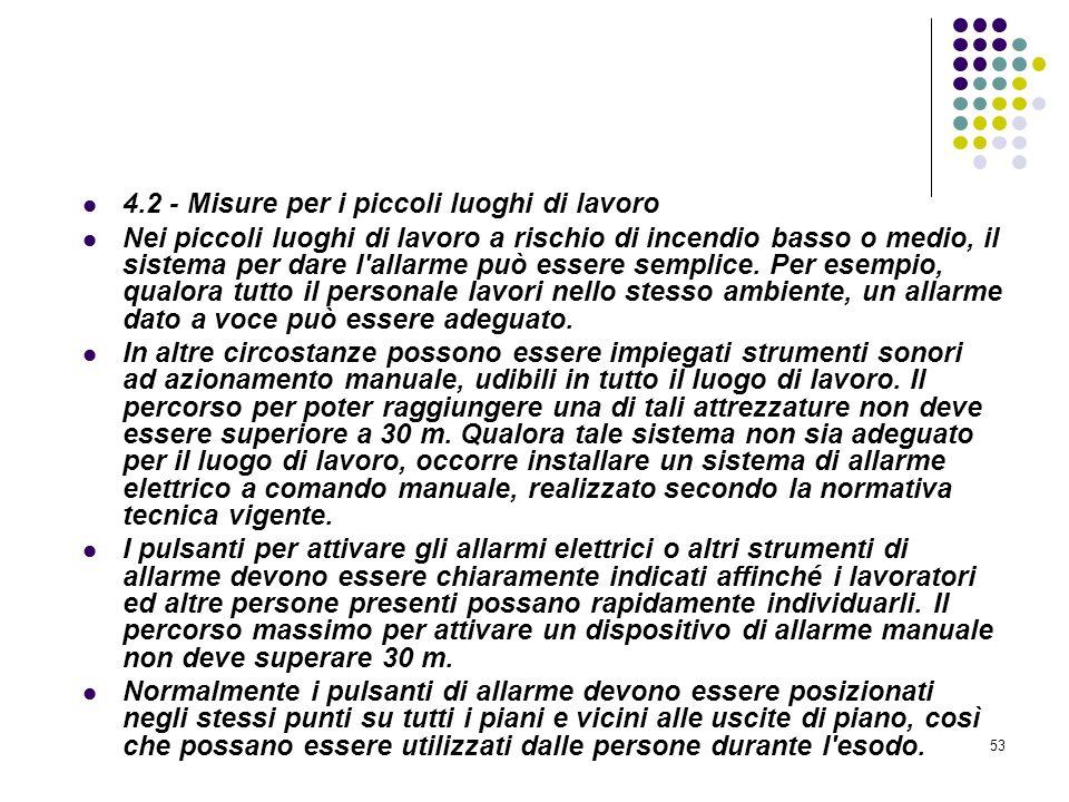 53 D.M. 10/03/1998 Allegato IV Misure per la rivelazione e lallarme in caso di incendio 4.2 - Misure per i piccoli luoghi di lavoro Nei piccoli luoghi