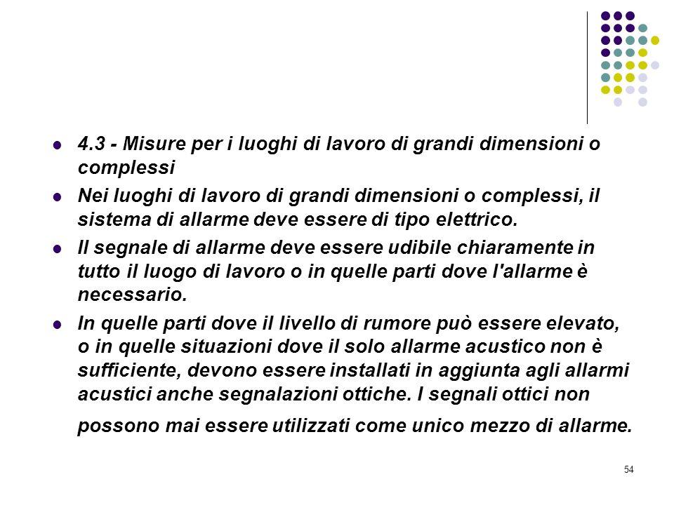 54 D.M. 10/03/1998 Allegato IV Misure per la rivelazione e lallarme in caso di incendio 4.3 - Misure per i luoghi di lavoro di grandi dimensioni o com