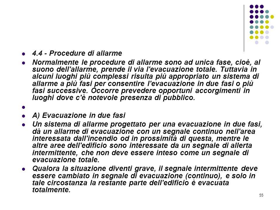 55 D.M. 10/03/1998 Allegato IV Misure per la rivelazione e lallarme in caso di incendio 4.4 - Procedure di allarme Normalmente le procedure di allarme