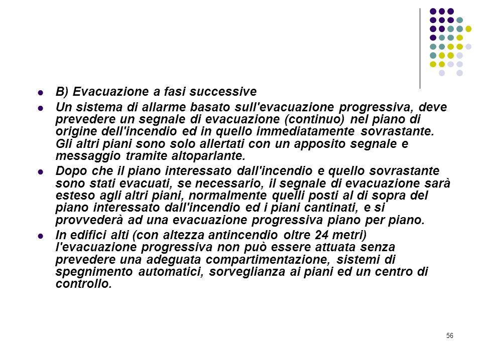 56 D.M. 10/03/1998 Allegato IV Misure per la rivelazione e lallarme in caso di incendio B) Evacuazione a fasi successive Un sistema di allarme basato