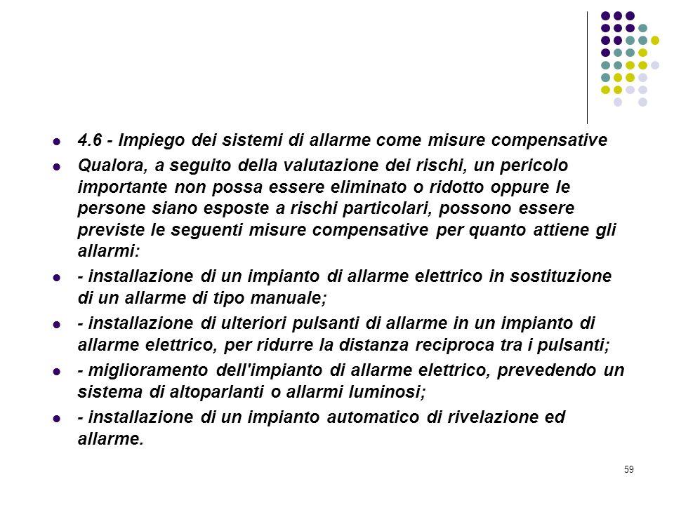 59 D.M. 10/03/1998 Allegato IV Misure per la rivelazione e lallarme in caso di incendio 4.6 - Impiego dei sistemi di allarme come misure compensative