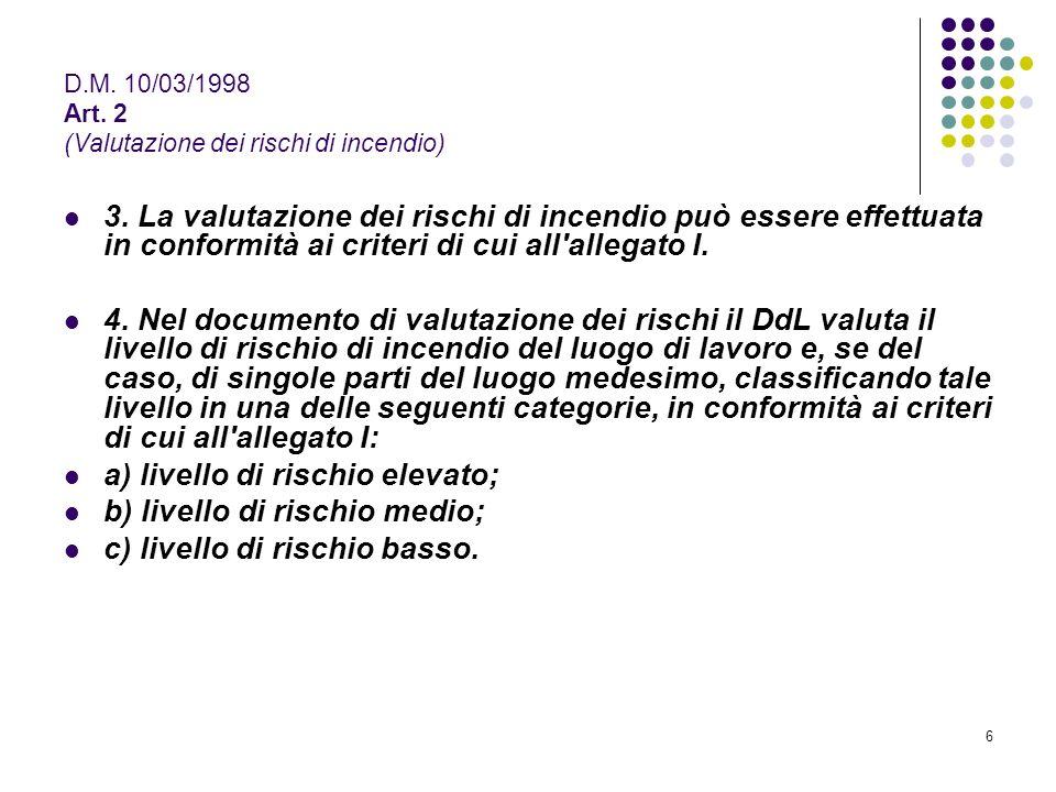 6 D.M. 10/03/1998 Art. 2 (Valutazione dei rischi di incendio) 3. La valutazione dei rischi di incendio può essere effettuata in conformità ai criteri