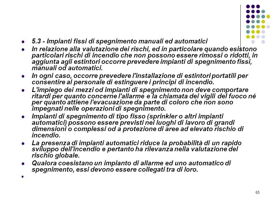 65 D.M. 10/03/1998 Allegato V Attrezzature ed impianti di estinzione degli incendi 5.3 - Impianti fissi di spegnimento manuali ed automatici In relazi