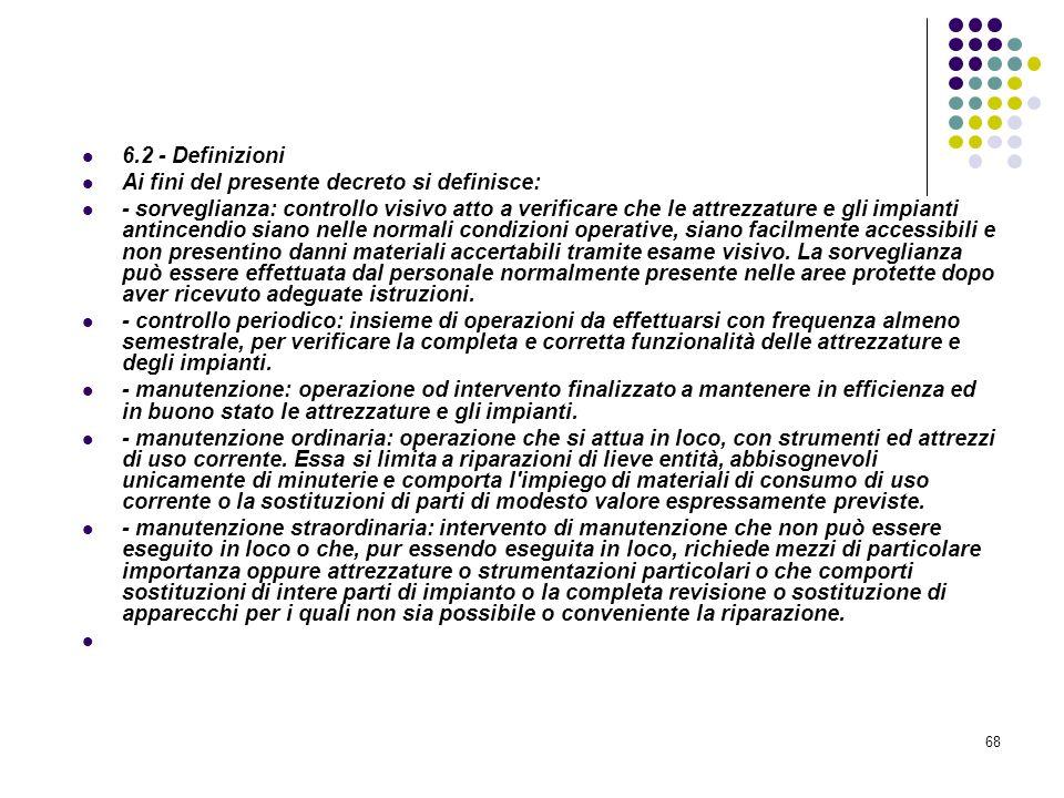68 D.M. 10/03/1998 Allegato VI Controllo e manutenzione sulle misure di protezione antincendio 6.2 - Definizioni Ai fini del presente decreto si defin