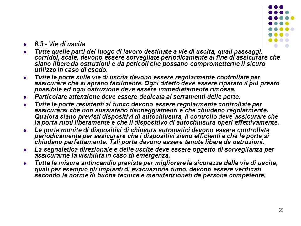 69 D.M. 10/03/1998 Allegato VI Controllo e manutenzione sulle misure di protezione antincendio 6.3 - Vie di uscita Tutte quelle parti del luogo di lav
