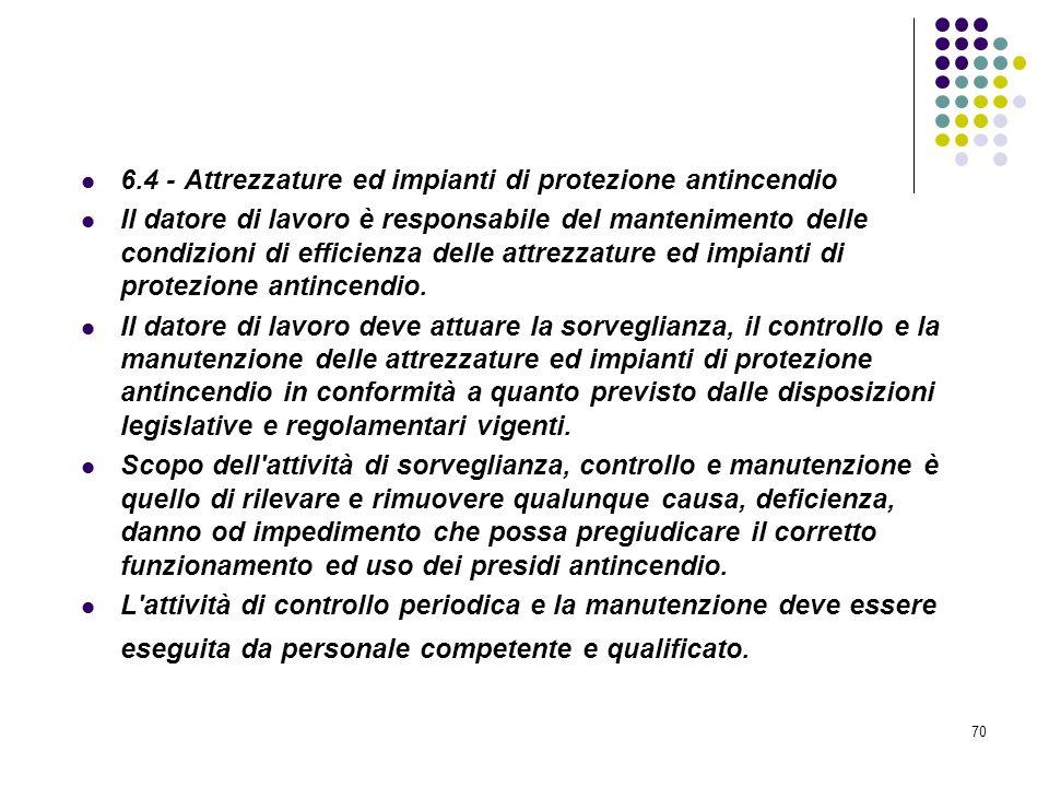 70 D.M. 10/03/1998 Allegato VI Controllo e manutenzione sulle misure di protezione antincendio 6.4 - Attrezzature ed impianti di protezione antincendi