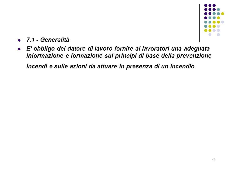 71 D.M. 10/03/1998 Allegato VII Informazione e formazione antincendio 7.1 - Generalità E' obbligo del datore di lavoro fornire ai lavoratori una adegu