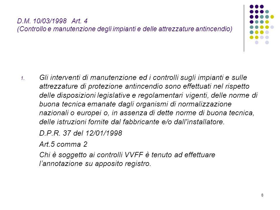 8 D.M. 10/03/1998 Art. 4 (Controllo e manutenzione degli impianti e delle attrezzature antincendio) 1. Gli interventi di manutenzione ed i controlli s