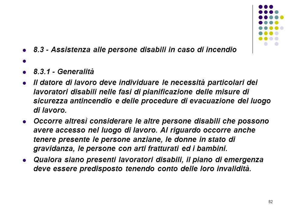 82 D.M. 10/03/1998 Allegato VIII Pianificazione delle procedure da attuare in caso di incendio 8.3 - Assistenza alle persone disabili in caso di incen