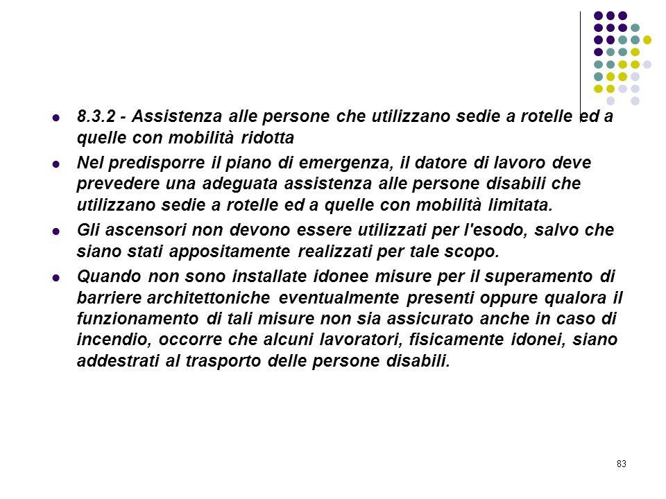 83 D.M. 10/03/1998 Allegato VIII Pianificazione delle procedure da attuare in caso di incendio 8.3.2 - Assistenza alle persone che utilizzano sedie a