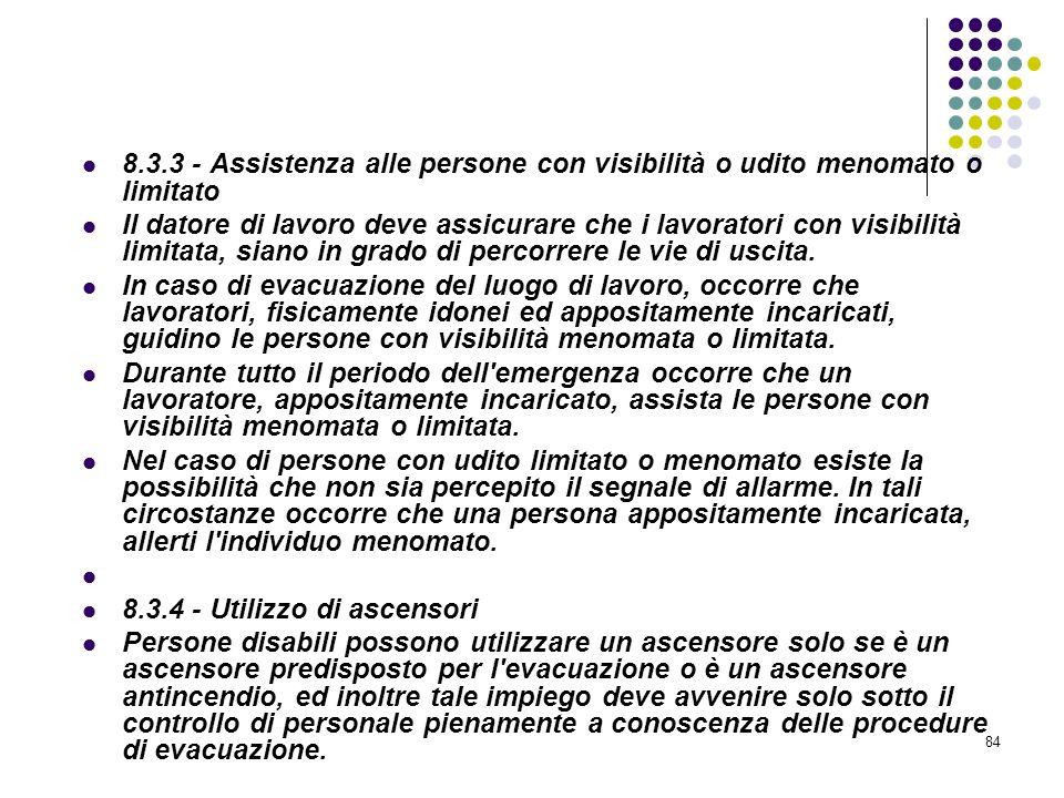 84 D.M. 10/03/1998 Allegato VIII Pianificazione delle procedure da attuare in caso di incendio 8.3.3 - Assistenza alle persone con visibilità o udito