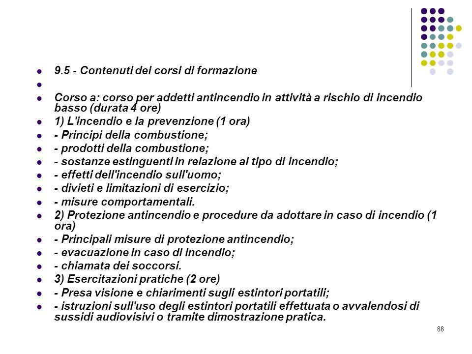 88 D.M. 10/03/1998 Allegato IX Pianificazione Contenuti minimi dei corsi di formazione per addetti alla prevenzione incendi, ecc.. 9.5 - Contenuti dei