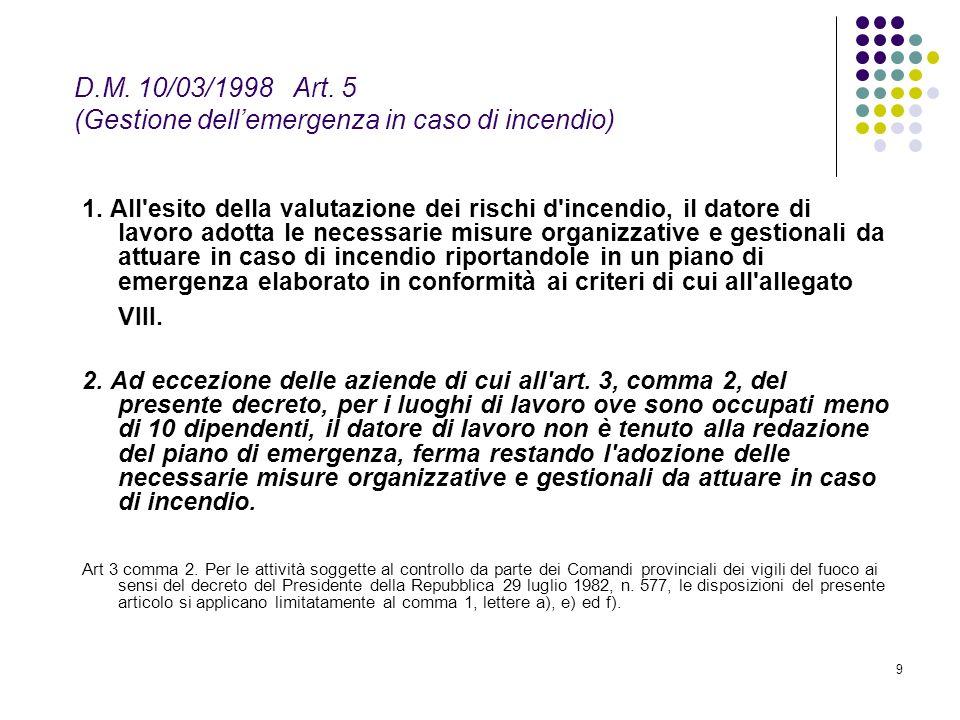 9 D.M. 10/03/1998 Art. 5 (Gestione dellemergenza in caso di incendio) 1. All'esito della valutazione dei rischi d'incendio, il datore di lavoro adotta