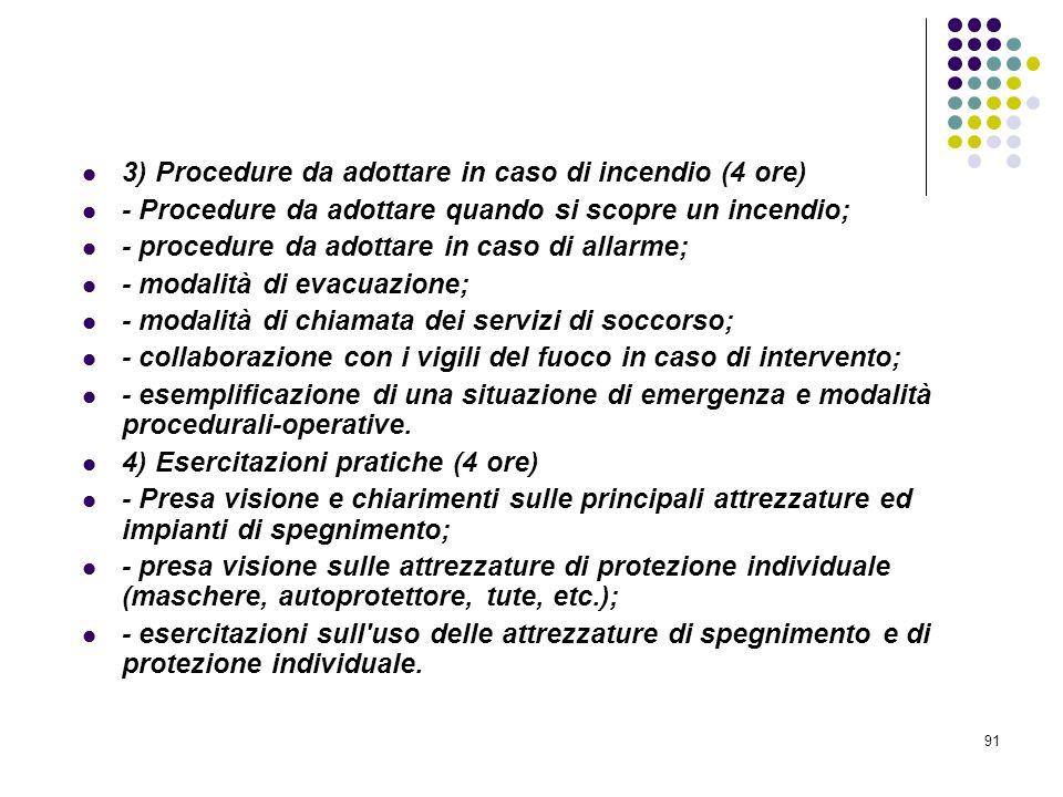 91 D.M. 10/03/1998 Allegato IX Pianificazione Contenuti minimi dei corsi di formazione per addetti alla prevenzione incendi, ecc.. 3) Procedure da ado