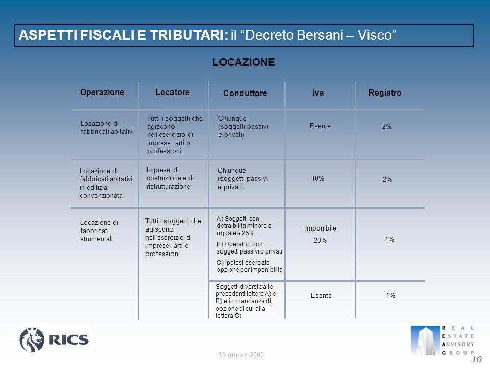 19 marzo 2009 ASPETTI FISCALI E TRIBUTARI: il Decreto Bersani – Visco 10 OperazioneLocatore Conduttore Iva Registro Locazione di fabbricati abitativi
