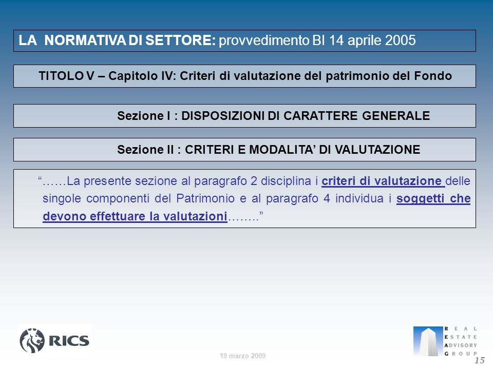 19 marzo 2009 LA NORMATIVA DI SETTORE: provvedimento BI 14 aprile 2005 15 TITOLO V – Capitolo IV: Criteri di valutazione del patrimonio del Fondo ……La