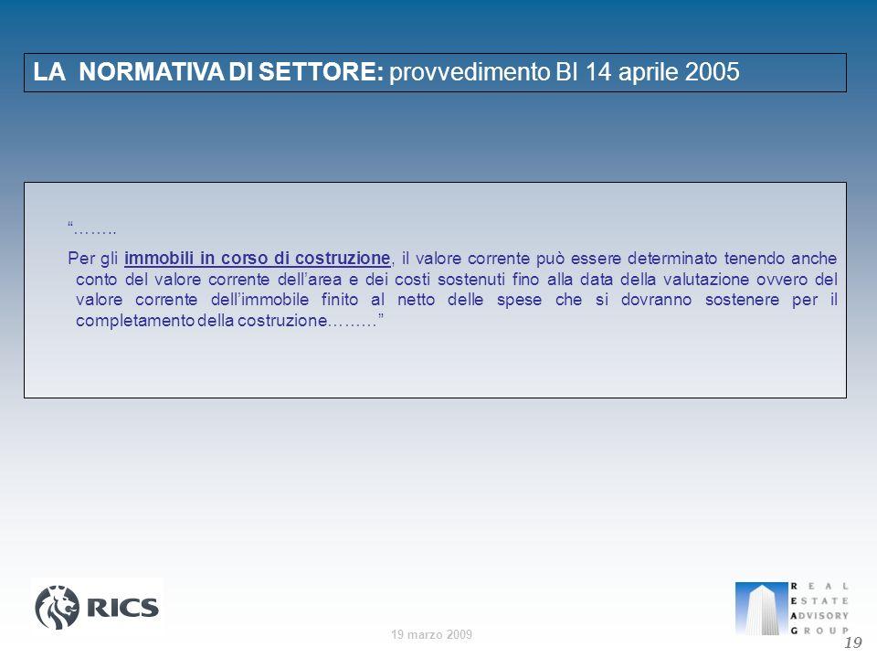 19 marzo 2009 LA NORMATIVA DI SETTORE: provvedimento BI 14 aprile 2005 19 …….. Per gli immobili in corso di costruzione, il valore corrente può essere