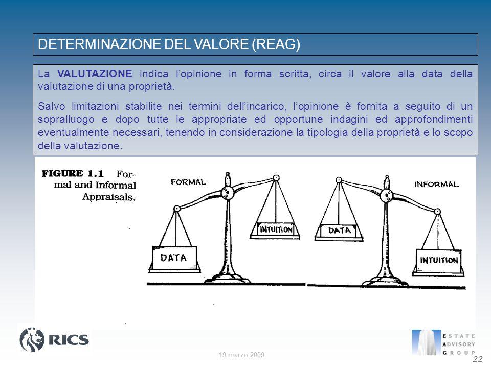 19 marzo 2009 DETERMINAZIONE DEL VALORE (REAG) La VALUTAZIONE indica lopinione in forma scritta, circa il valore alla data della valutazione di una pr