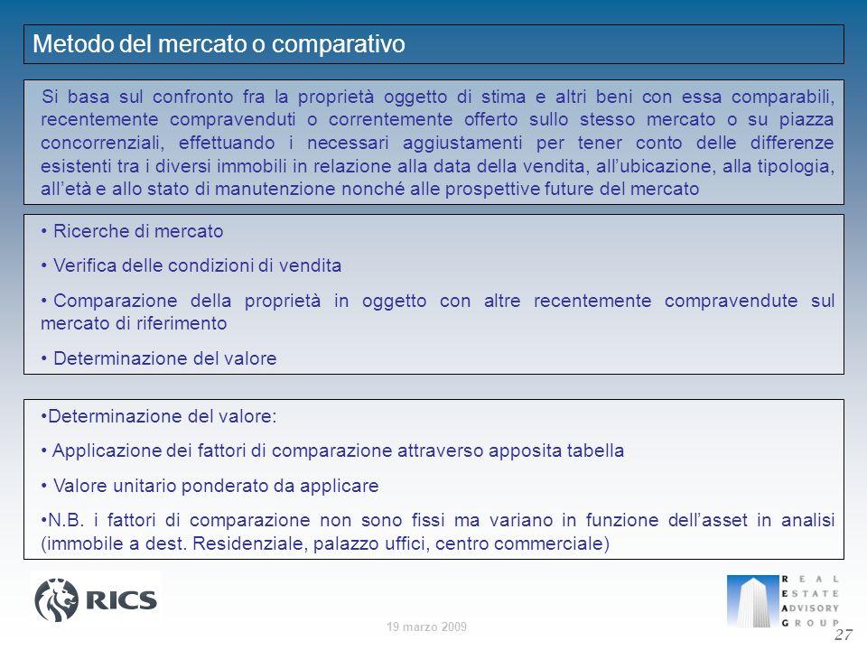 19 marzo 2009 Metodo del mercato o comparativo Si basa sul confronto fra la proprietà oggetto di stima e altri beni con essa comparabili, recentemente