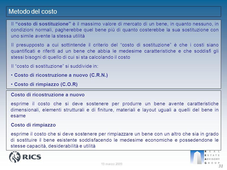 19 marzo 2009 Metodo del costo Il costo di sostituzione è il massimo valore di mercato di un bene, in quanto nessuno, in condizioni normali, pagherebb