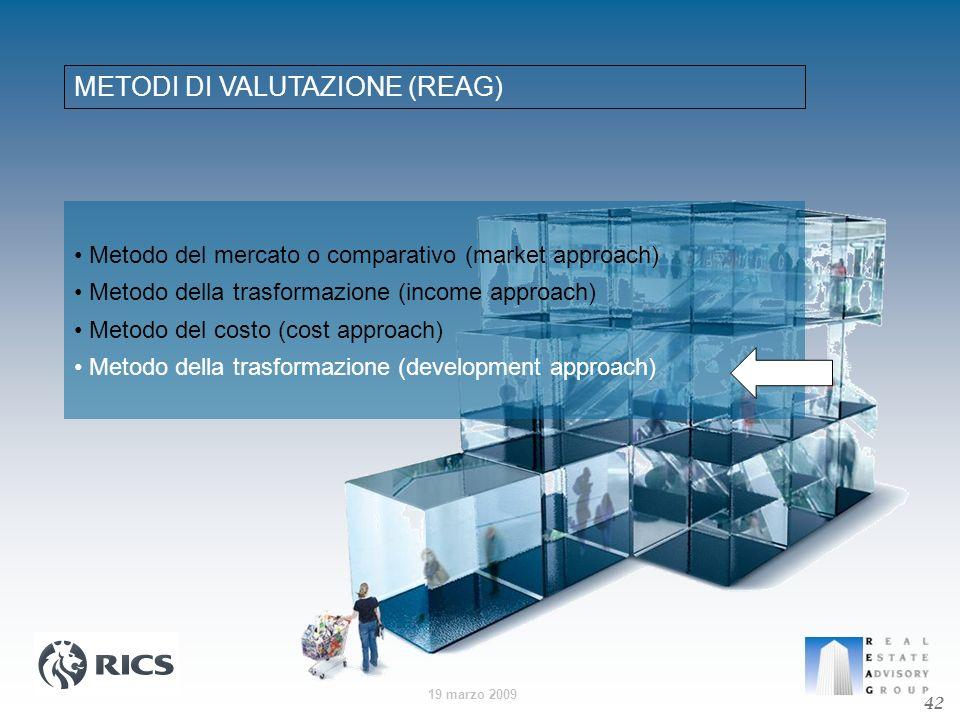 19 marzo 2009 METODI DI VALUTAZIONE (REAG) Metodo del mercato o comparativo (market approach) Metodo della trasformazione (income approach) Metodo del