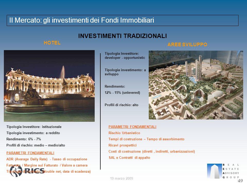 19 marzo 2009 Il Mercato: gli investimenti dei Fondi Immobiliari 49 INVESTIMENTI TRADIZIONALI HOTEL AREE SVILUPPO Tipologia Investitore: istituzionale