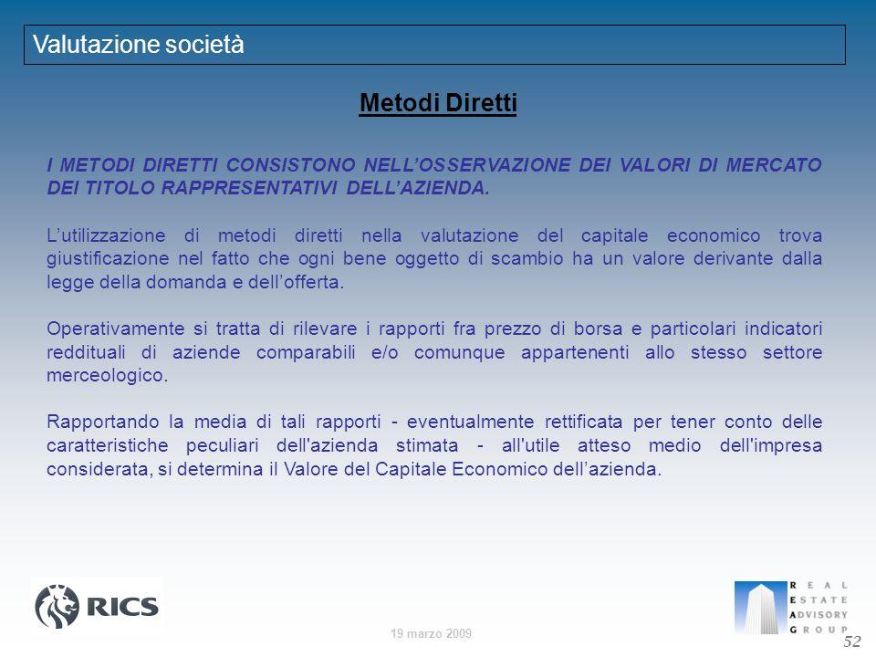 19 marzo 2009 Metodi Diretti I METODI DIRETTI CONSISTONO NELLOSSERVAZIONE DEI VALORI DI MERCATO DEI TITOLO RAPPRESENTATIVI DELLAZIENDA. Lutilizzazione