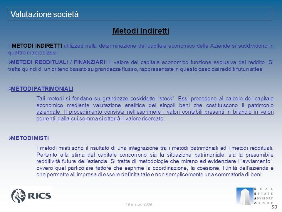 19 marzo 2009 I METODI INDIRETTI utilizzati nella determinazione del capitale economico delle Aziende si suddividono in quattro macroclassi: METODI RE