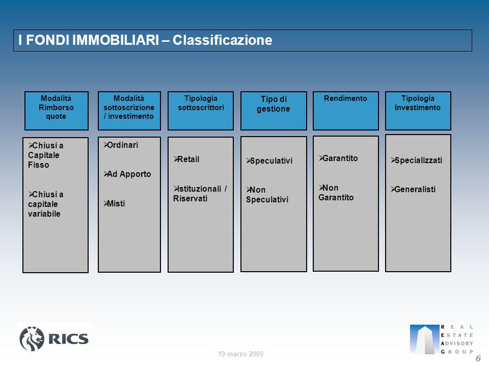 19 marzo 2009 I FONDI IMMOBILIARI – Classificazione 6 Modalità Rimborso quote Modalità sottoscrizione / investimento Tipologia sottoscrittori Tipo di