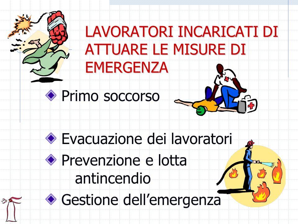 LAVORATORI INCARICATI DI ATTUARE LE MISURE DI EMERGENZA Primo soccorso Evacuazione dei lavoratori Prevenzione e lotta antincendio Gestione dellemergen