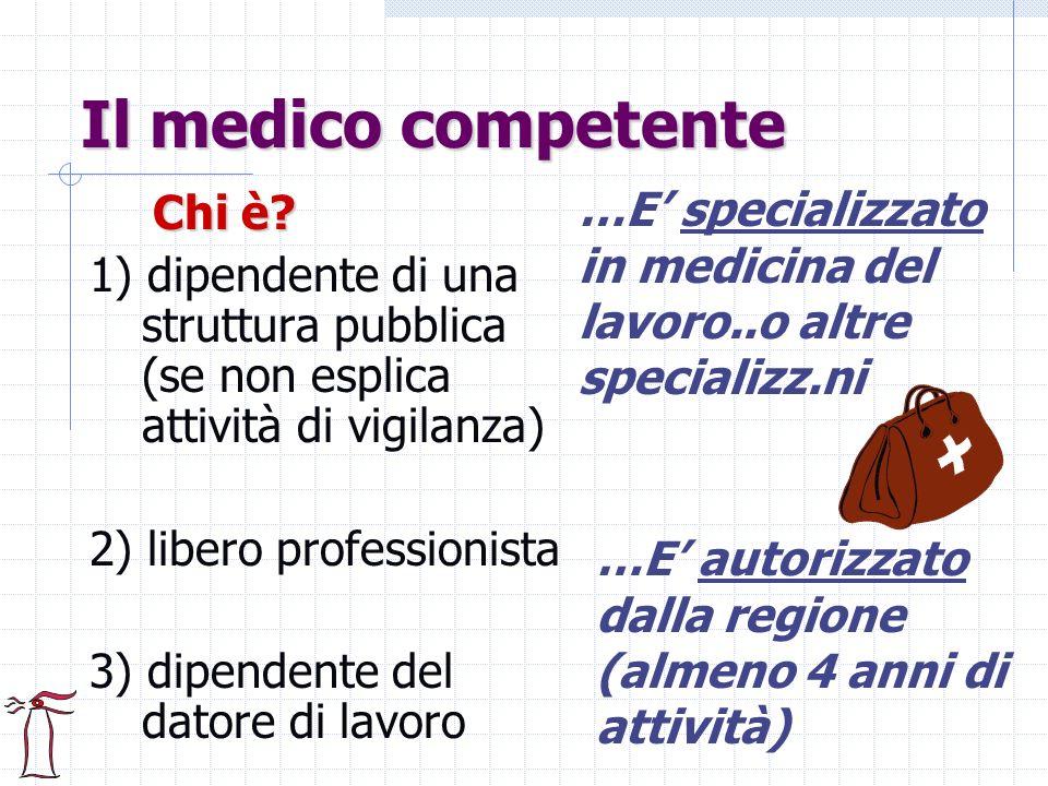 Il medico competente Chi è? 1) dipendente di una struttura pubblica (se non esplica attività di vigilanza) 2) libero professionista 3) dipendente del