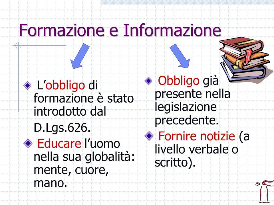 Formazione e Informazione Lobbligo di formazione è stato introdotto dal D.Lgs.626. Educare luomo nella sua globalità: mente, cuore, mano. Obbligo già