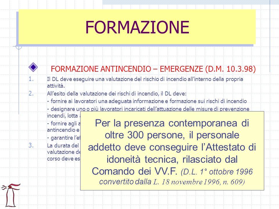 FORMAZIONE ANTINCENDIO – EMERGENZE (D.M. 10.3.98) 1. Il DL deve eseguire una valutazione del rischio di incendio allinterno della propria attività. 2.