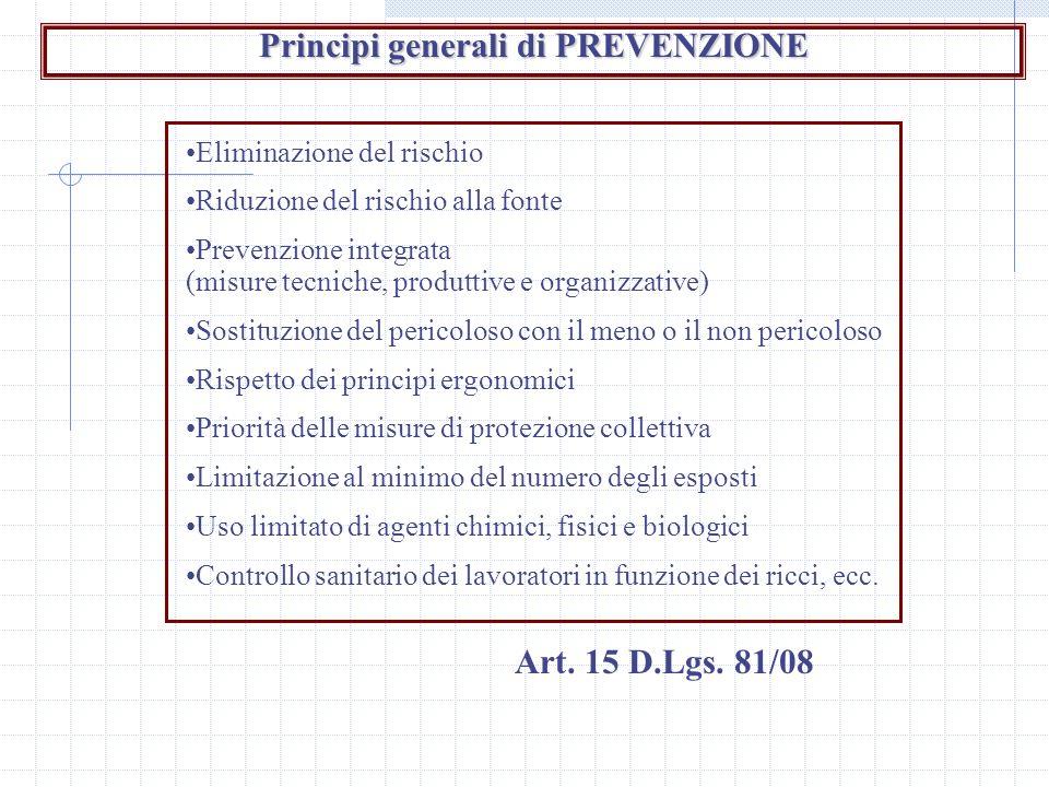 Principi generali di PREVENZIONE Eliminazione del rischio Riduzione del rischio alla fonte Prevenzione integrata (misure tecniche, produttive e organi