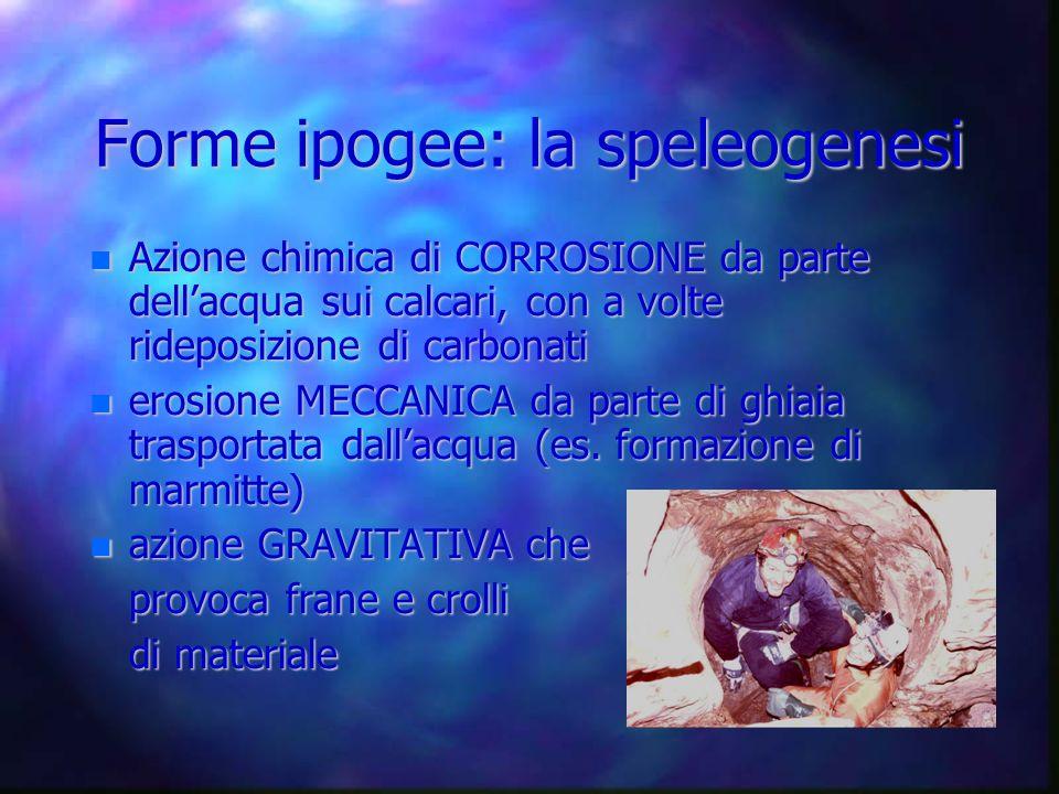 Forme ipogee: la speleogenesi Azione chimica di CORROSIONE da parte dellacqua sui calcari, con a volte rideposizione di carbonati Azione chimica di CO