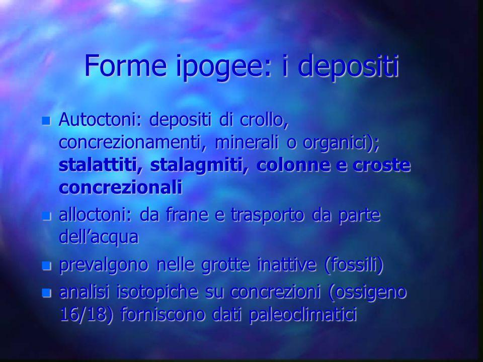 Forme ipogee: i depositi Autoctoni: depositi di crollo, concrezionamenti, minerali o organici); stalattiti, stalagmiti, colonne e croste concrezionali