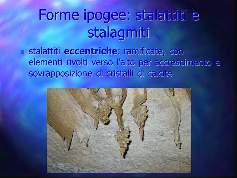 Forme ipogee: stalattiti e stalagmiti stalattiti eccentriche: ramificate, con elementi rivolti verso lalto per accrescimento e sovrapposizione di cris